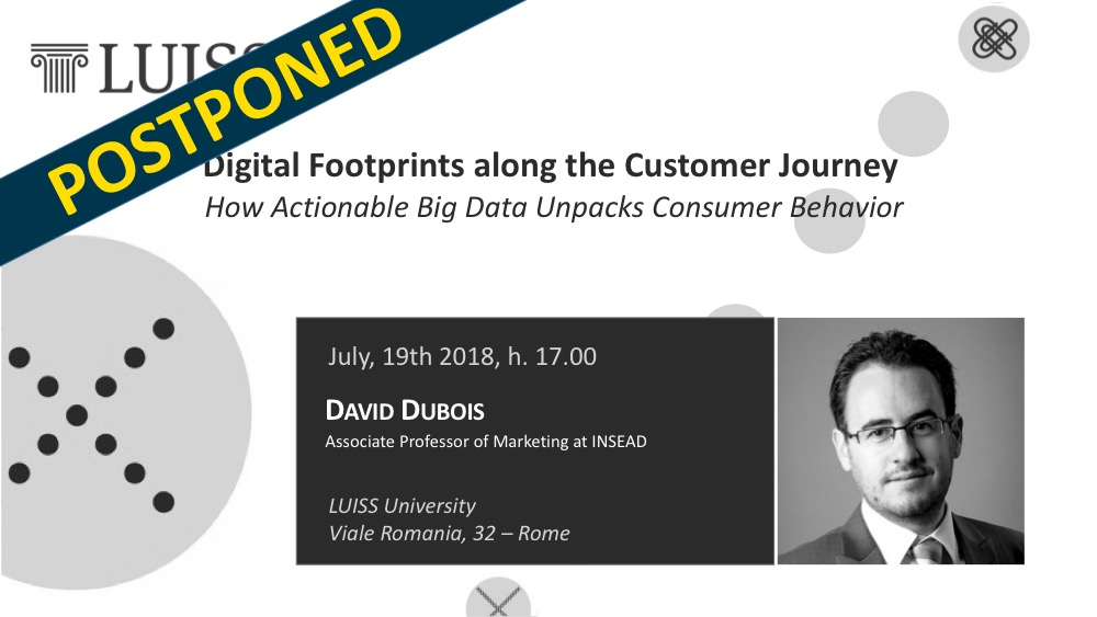 POSTPONED X.ITE TALK: Prof. David Dubois